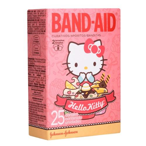 Curativos Band Aid Decorados Hello Kitty 2 Tamanhos 25 Unidades