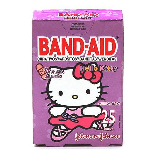 Curativos Band Aid Johnson & Johnson Decorados Hello Kitty 2 Tamanhos com 25 Unidades