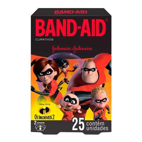 Curativos Band Aid Johnson & Johnson Decorados os Incríveis 2 Tamanhos Variados com 25 Unidades