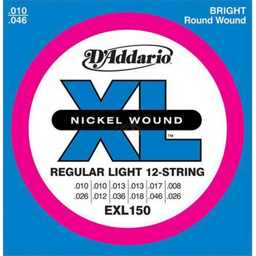 D'addario - Encordoamento 010 para Guitarra 12 Cordas Exl150