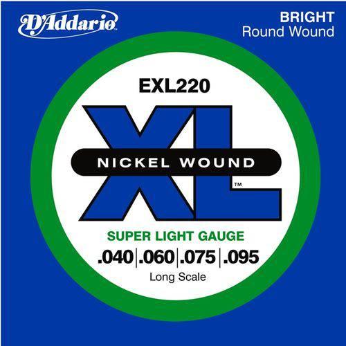 D'addario - Encordoamento Nickel 040 para Baixo 4 Cordas Exl220