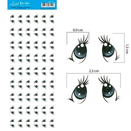 Decalque a Base D'Água DQE-022 Olhos 6 - 54 Pares