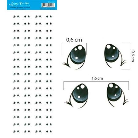 Decalque a Base D'Água DQE-023 Olhos 7 - 68 Pares