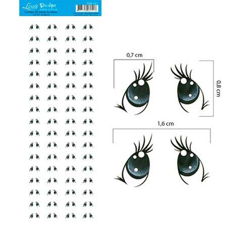 Decalque a Base D'Água DQE-021 Olhos 5 - 68 Pares
