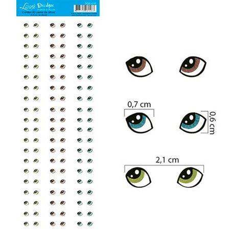 Decalque a Base D'Água DQE-018 Olhos 2 - 60 Pares