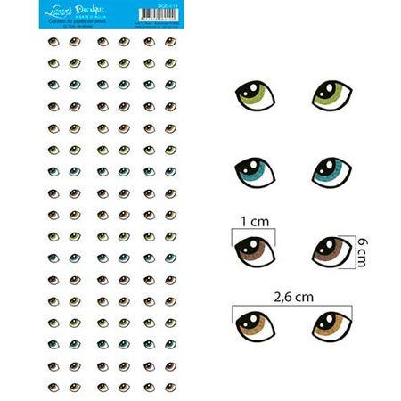 Decalque a Base D'Água DQE-019 Olhos 3 - 51 Pares