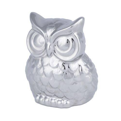 Decor Ceramica Staring Owl Prata Gde 14,5 X 11 X 16,5 Cm