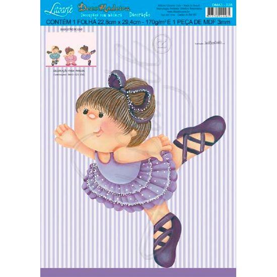 Decoração para Parede MDF Decoupage Menina Bailarina DMA3-028 - Litoarte
