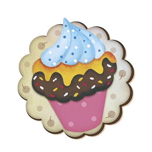 Decoupage Aplique em Papel e Mdf Cup Cake Apm8-112 Litoarte 8cm