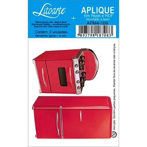 Decoupage Aplique em Papel e Mdf Geladeira e Fogão Apm4-109 - Litoarte