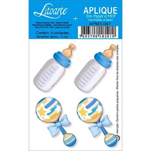 Decoupage Aplique em Papel e Mdf Mamadeira e Chocalho Apm3-041 - Litoarte