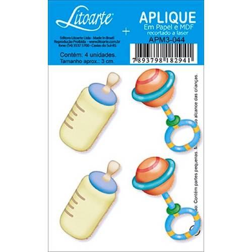 Decoupage Aplique em Papel e Mdf Mamadeira e Chocalho Apm3-044 - Litoarte