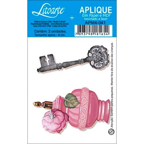 Decoupage Aplique em Papel e Mdf Perfume e Chave Apm4-041 - Litoarte