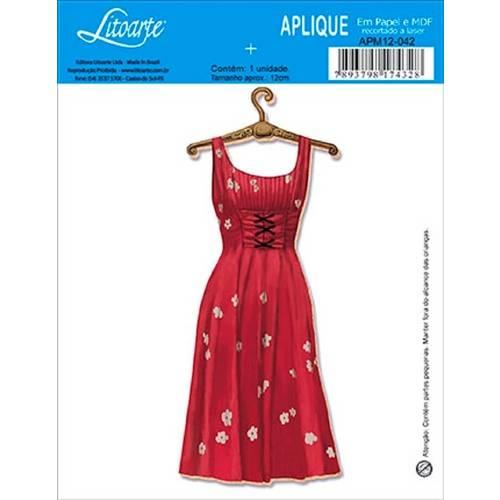 Decoupage Aplique em Papel e Mdf Vestido Apm12-042 - Litoarte