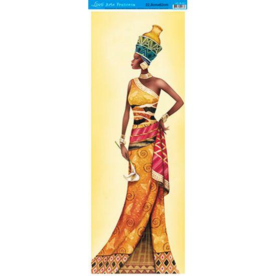 Decoupage Arte Francesa Vertical Africana com Flor AFVE-007 - Litoarte
