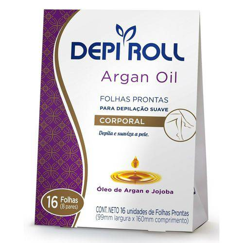 Depi Roll Argan Oil Folhas Prontas Corporal Argan e Jojoba C/16