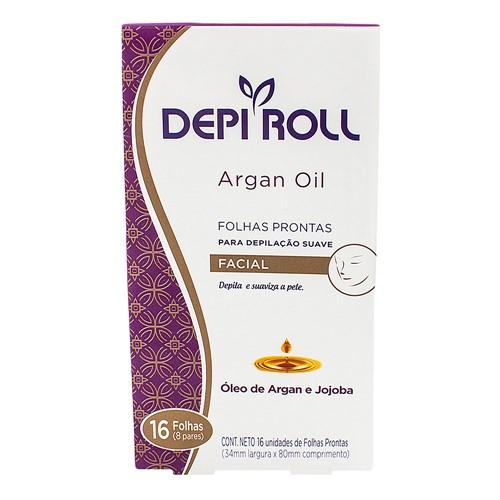 Depilador DepiRoll Argan Oil Cera Fria Facial Folhas Prontas com 16 Unidades (8 Pares)