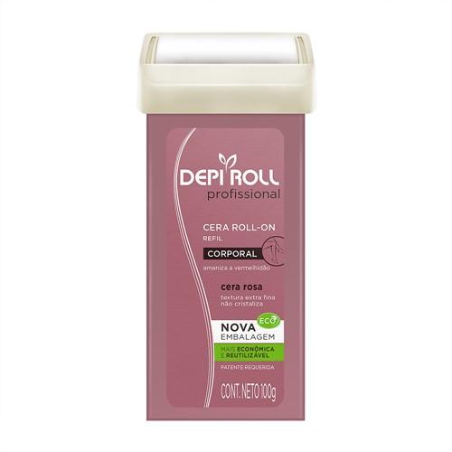 Depilador DepiRoll Profissional Rosa Corporal Roll-on Refil com 100g