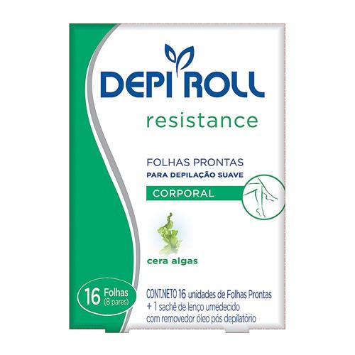 Depilador DepiRoll Resistance Cera Fria para Virilha e Pernas Folhas Prontas com 16 Unidades (8 Pares) + 1 Sachê de Lenço Umedecido com Removedor Óleo Pós Depilatório