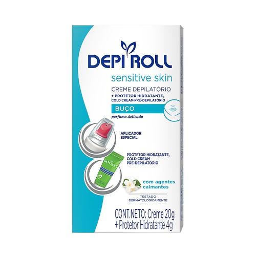 Depilador DepiRoll Sensitive Skin Cera Creme para Buço com 20g + 1 Protetor Hidratante com 4g