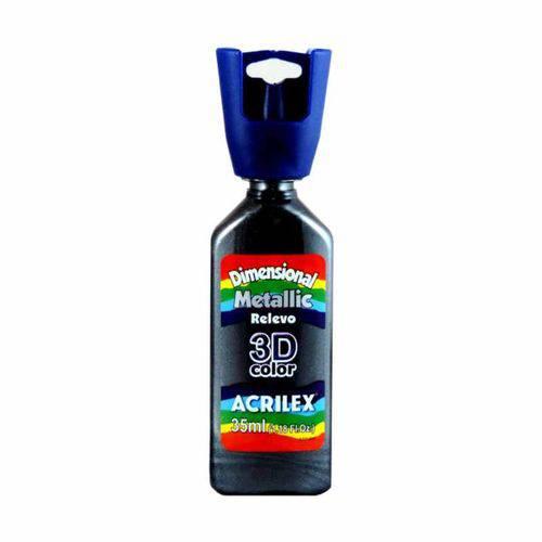 Dimensional Relevo 3d Color Metallic 35ml Acrilex Preto 520