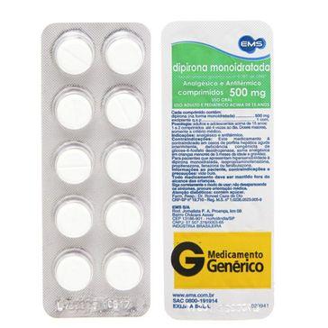 Dipirona Sódica EMS 500mg 10 Comprimidos
