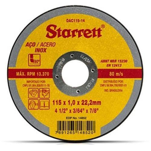 Disco Abrasivo de Corte 115mm Dac115-14 Starrett