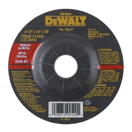 Disco de Desbaste para Metal 4. 1/2 X 6,3 X 7/8 - Dw44540 - Dewalt