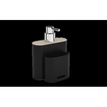 Dispenser Flat 500 Ml 9 X 13 X 16,5 Cm Preto e Light Gray Coza