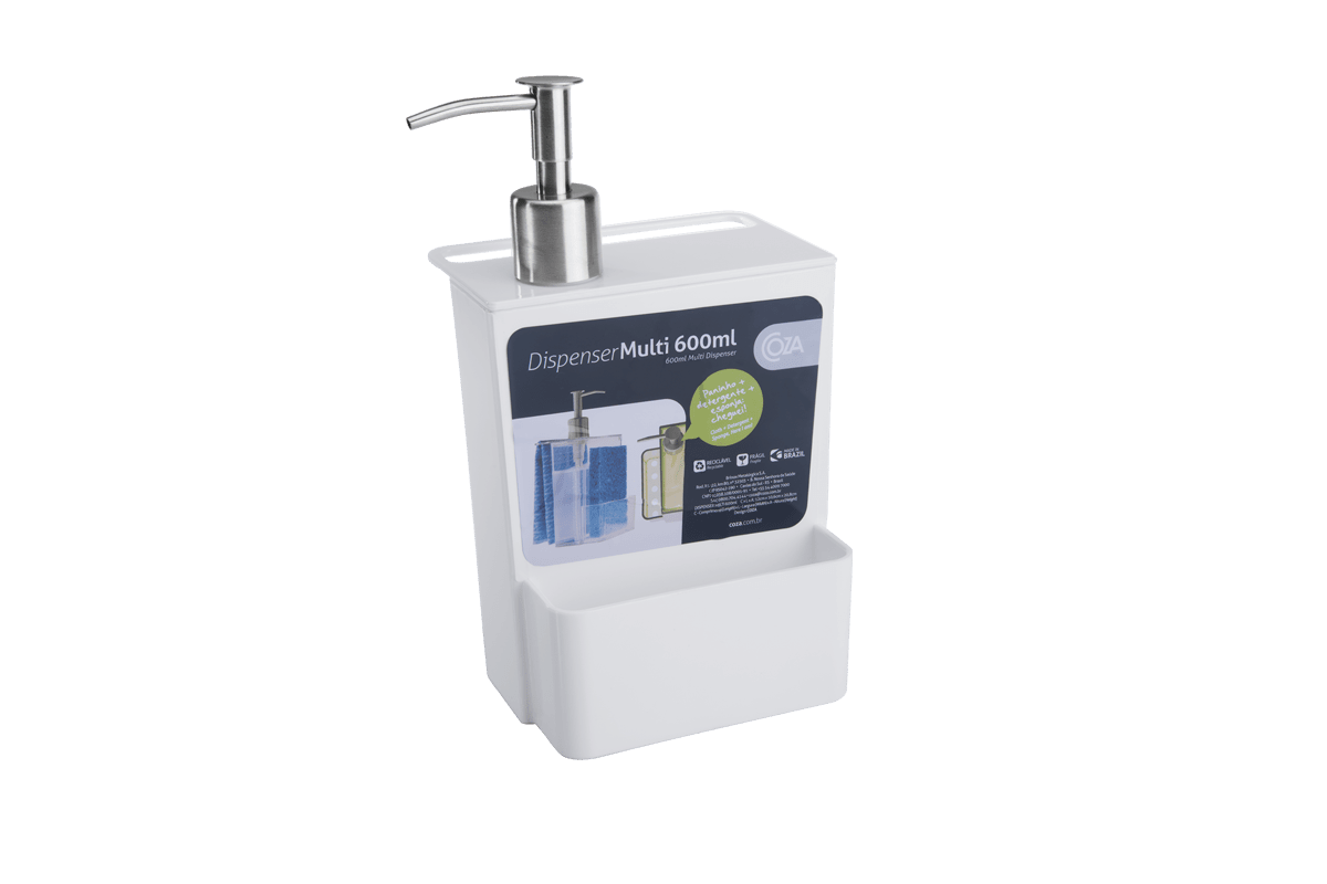 Dispenser Multi Glass 600 ML 12 X 10,6 X 20,8 Cm 600 Ml Branco Coza