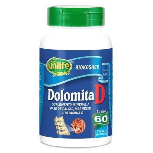 Dolomita D Cálcio Magnésio Vitamina D - Unilife 60 Cápsulas