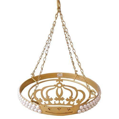 Dossel Coroa Redondo Pérolas Babykinha Dourado
