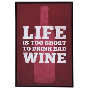 Drink Wine Quadro 20 Cm X 30 Cm Preto/vermelho Hindu