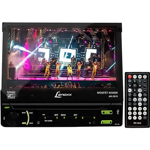 """DVD Player Automotivo Lenoxx AD2619 1Din Tela 7"""" Touchscreen Retrátil com Entradas USB Câmera de Ré Cartão SD Rádio FM"""