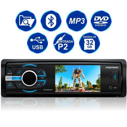 DVD Player Automotivo Pósitron SP4340BT 1 Din LCD Bluetooth 3 Polegadas