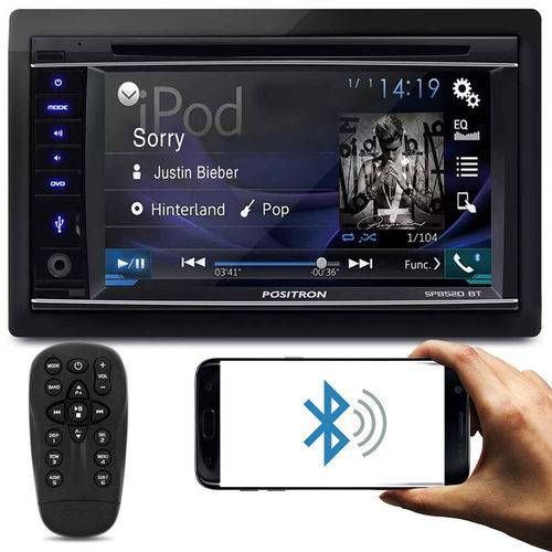 DVD Player Automotivo Positron SP8520 BT 2 Din 6,2 Pol Bluetooth Touch USB MicroSD CD AUX AM FM RCA