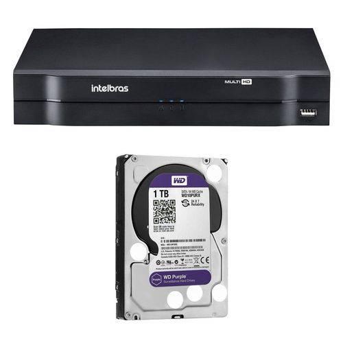 DVR Stand Alone Intelbras MHDX-1008 8 Canais 1080N HDCVI, HDTVI, AHD, ANALÓGICO + HD 1 Tera WD Purpl