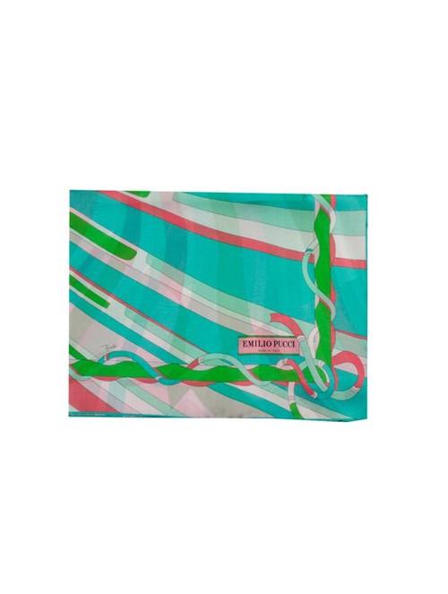 Echarpe de Seda Estampada Verde