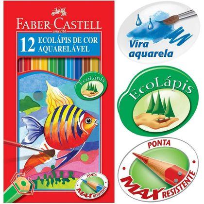 Ecolápis de Cor Aquarelável 12 Cores - Faber Castell Faber Castell