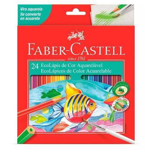 Ecolápis de Cor Aquarelável Faber-castell 24 Cores + Pincel