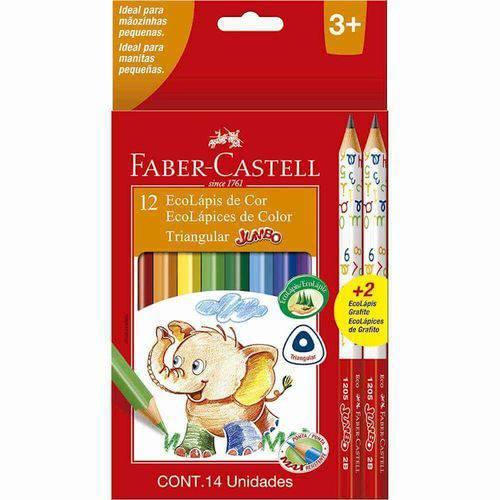 Ecolapis Jumbo Triangular 12 Cores + 2 Fsc Faber Castell
