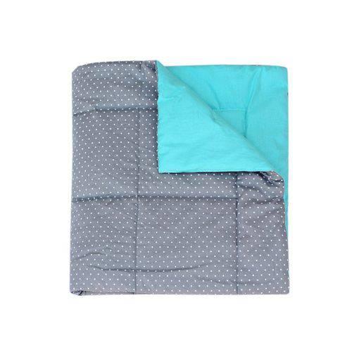 Edredom para Berço Dupla Face Estrelinhas Cinza e Azul Tiffany
