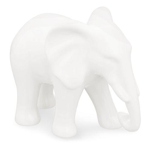 Elefante em Cerâmica Branco 15,5x10cm