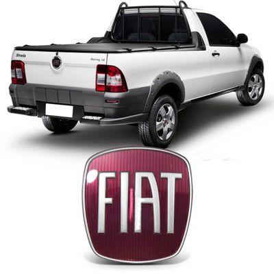 Emblema Fiat da Maçaneta Tampa Traseira Strada 2009 a 2019 - Vermelho