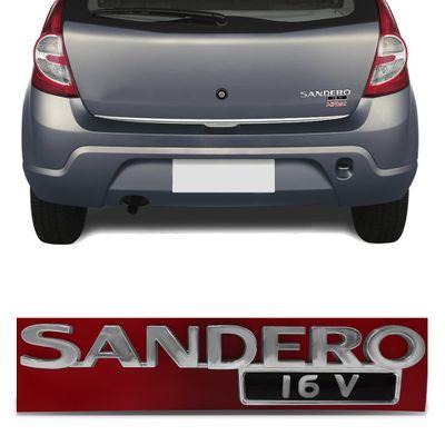 Emblema Sandero 16v do Porta Malas Sandero 2009 a 2014 - Cromado