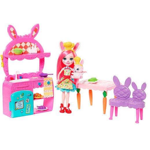 Enchantimals Cômodos da Casa - Cozinha Alegre e Boneca Bree Bunny - Mattel