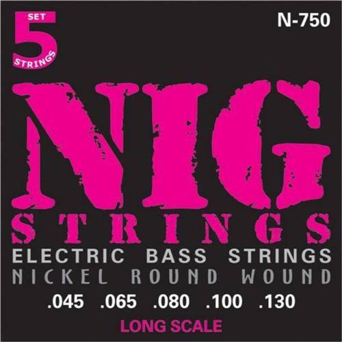 Encordoamento Baixo 5 Cordas Nig .045/.130 N750 Escala Longa