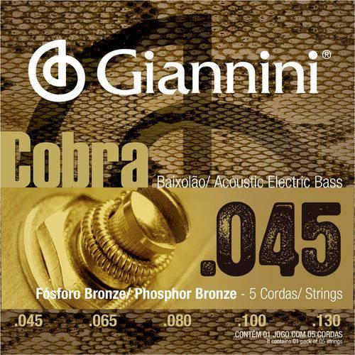 Encordoamento Baixolão 5 Cordas Giannini Cobra 045 GEEBASF5