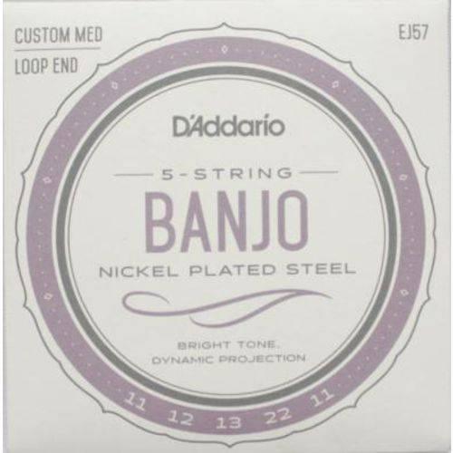 """Encordoamento D'addario para Banjo EJ57 - 5 Cordas, .011""""/.022"""""""