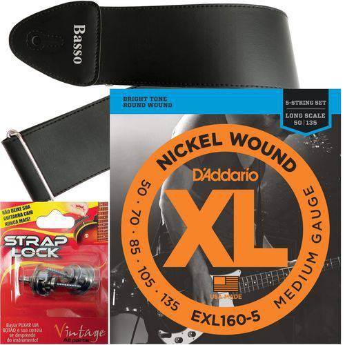 Encordoamento Daddario Baixo 5 Cordas 050 135 EXL160-5 + Strap Lock + Correia